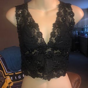 Black bebe lace crop top